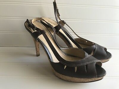 Marc Fisher Open Toe Sling Back Sandals Brown High Heel Shoes 9M