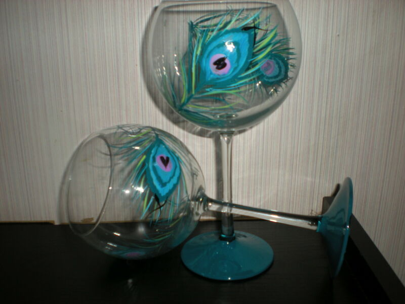 HAND PAINTED TEAL PEACOCK WITH TEAL BASE19 OUNCE GOBLET/ SET/4(MADE IN THE USA)
