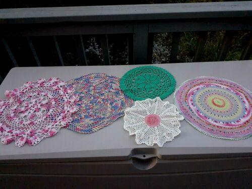 """5 lovely Vintage Pastel Crochet Doilies 12""""-16"""". Excellent."""