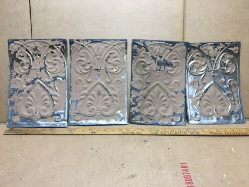 "4pc Lot of 11.5"" by 8"" Antique Ceiling Tin Vintage Reclaimed Salvage Art Craft"
