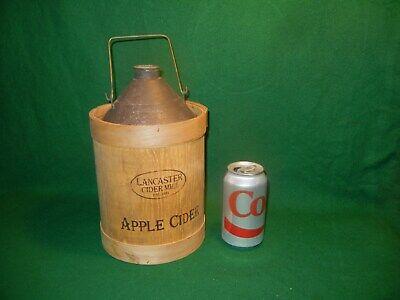 vintage looking Lancaster Cider Mill apple cider jug canister tin & wood display