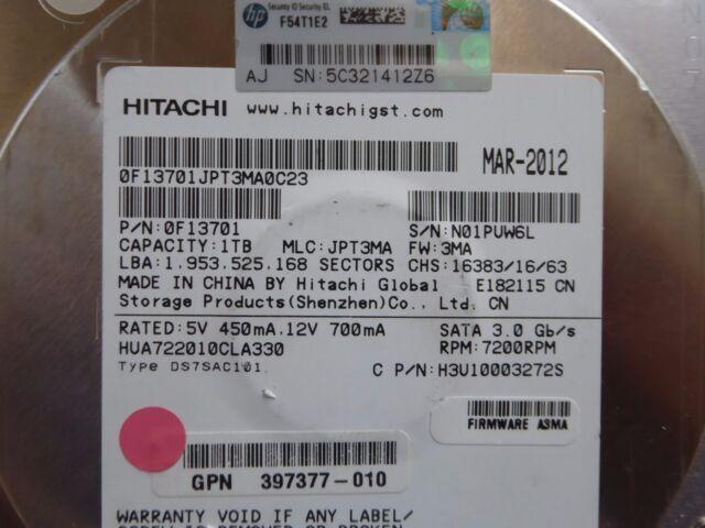 1 TB Hitachi HUA722010CLA330 | MLC: JPT3MA | FW: 3MA | MAR-2012 | PCB OK