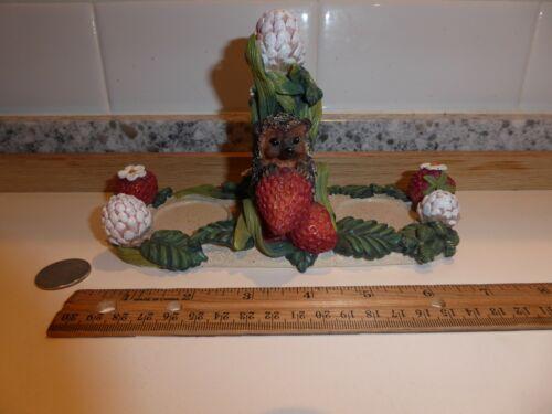 """Vintage Bramble & Clover 7"""" Hedgehog Strawberry Votive Candle Holder 496636"""