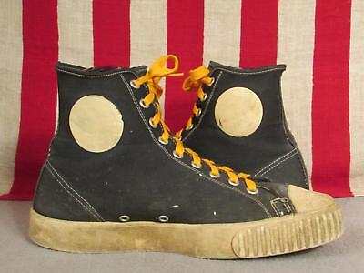 Vintage 1950s Black Canvas Basketball Sneakers High-Top Athletic Shoes Sz 9 USA