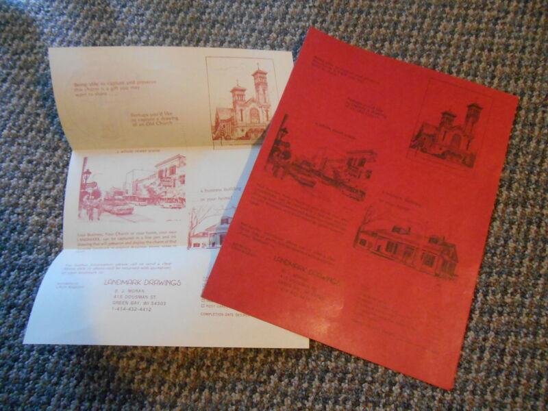 Old Vintage Landmark Drawings BJ Moran Green Bay Wisconsin Advertising Brochures