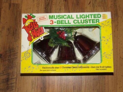 Vintage Carolites Musical LIghted 3 Bell Cluster 12 Christmas Carols in Original
