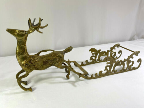 Vintage Large Solid Brass Reindeer with Sleigh Christmas Holidays Sled