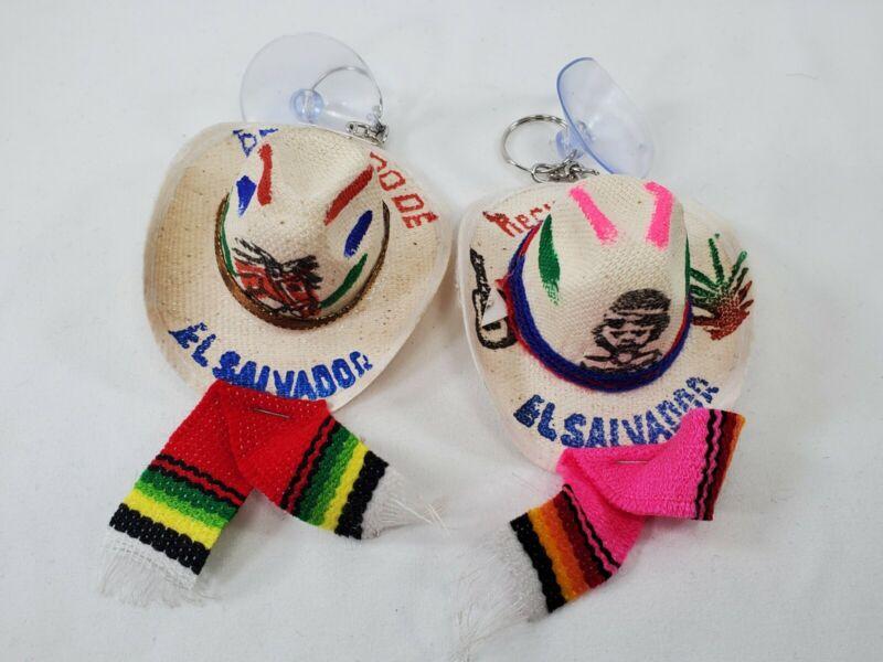 2Pk El Salvador LLavero De Sombrero Artesana Hand Made  Salvadorian Hat Keychain