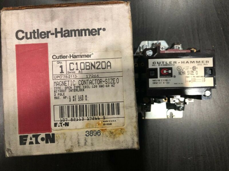 Cutler Hammer C10BN20A Magnetic Contactor 2 Pole size 0