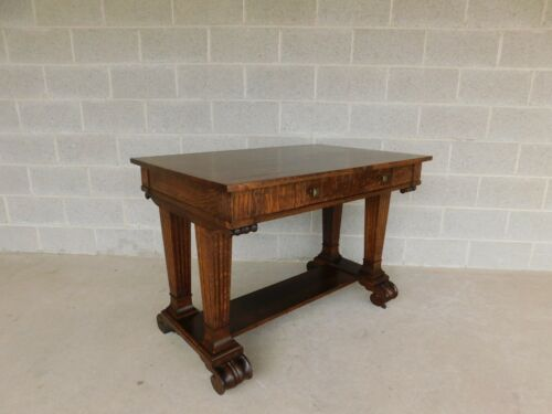 "Bailey Table Antique Tiger Oak Writing Desk Library Table 42""W"