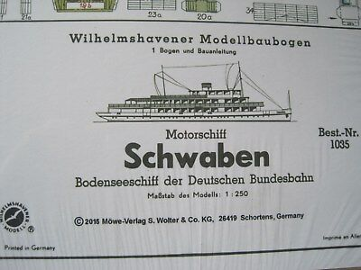Schwaben Motorschiff Wilhelmshavener Modellbaubogen Bastelbogen Kartonmodell