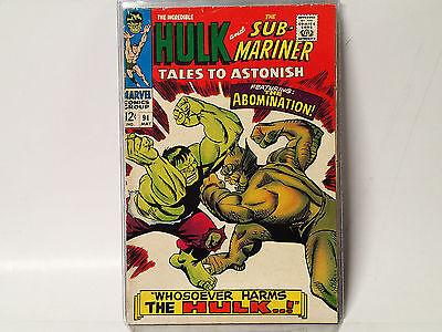 TALES TO ASTONISH #91 Marvel Comics 1967 VG Sub-Mariner & HULK, Abomination