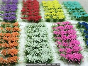 Miniature Model Self Adhesive 6mm Static Grass Tufts - Deep Green Flower Sampler
