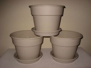3 new usa made 10 flower pots heavy plastic indoor outdoor with saucer muslin ebay - Indoor plant pots with saucers ...