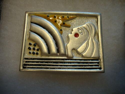 AJC vtg/nos silver tone enamel Art Deco Woman Sun picture pin