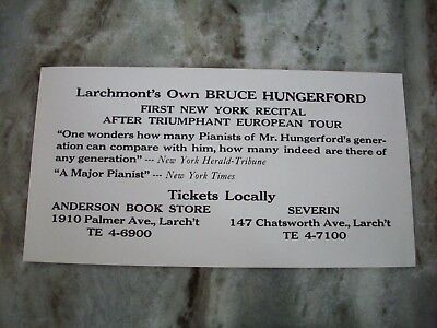 """Larchmont's Own Bruce Hungerford Pianist Advertising Flyer 5.5 x10.5"""""""