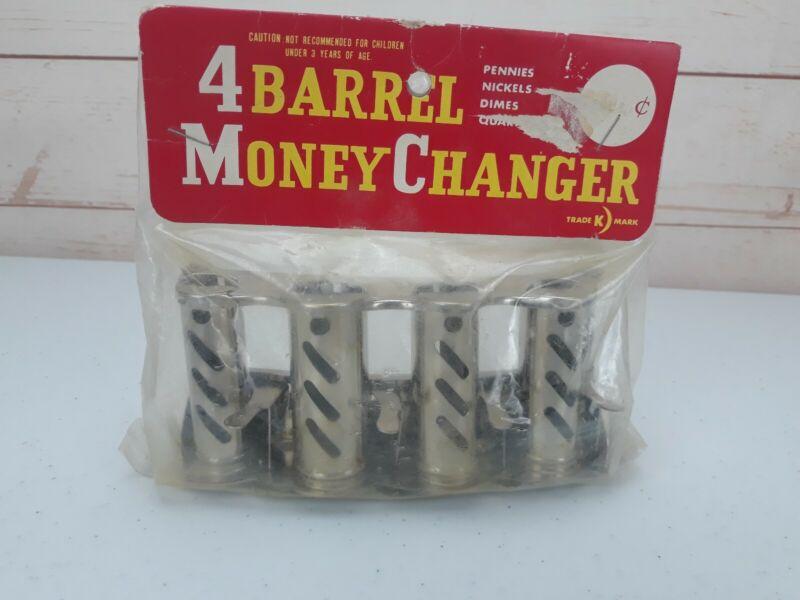 Vintage Japan Four Barrel Metal Mechanical Coin Money Changer Dispenser