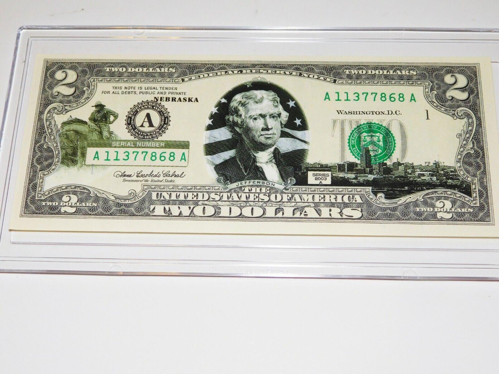 2003A 2.00 Bill Over Print Note Uncirculated In Case / Nebraska....5846 - $7.50