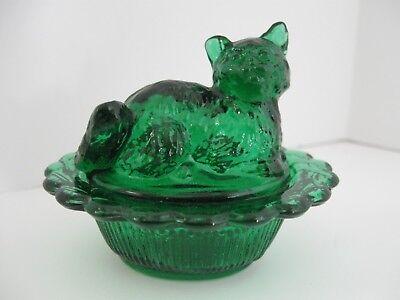 MOSSER HUNTER GREEN GLASS CAT ON BASKET SALT CELLAR, TRINKETS, RING/ PILL HOLDER