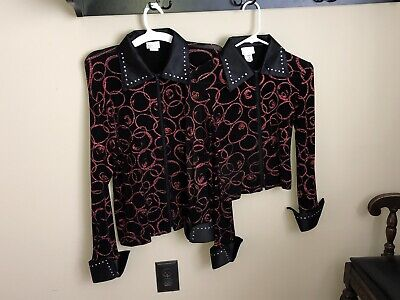 xs S M L xl 5 Girl sizes slinky stars blues western rail show shirt leadline