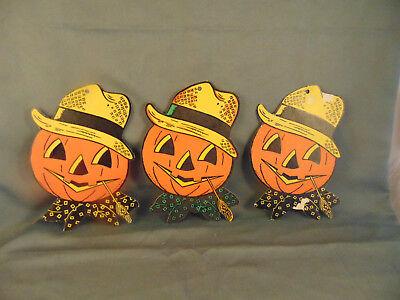 3 Vintage Beistle Co. embossed die cut  Halloween pumpkin cardboard decorations