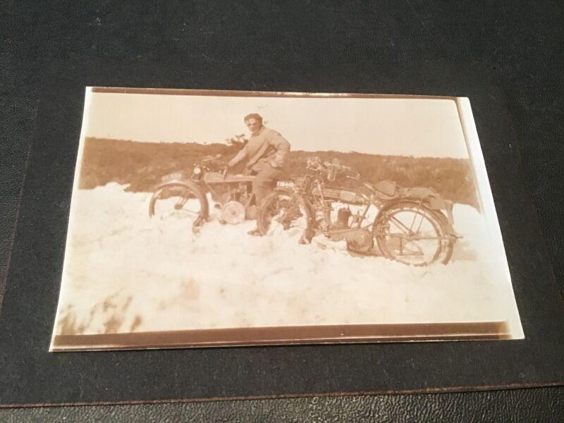 VERUS & IMPERIAL British Motorcycle Original Photo 1919 Bike Winter RARE
