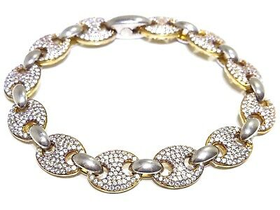 Silver .925 Yellow Gold Plated Gucci Puff Link W/ White Cz Bracelet 22.5g