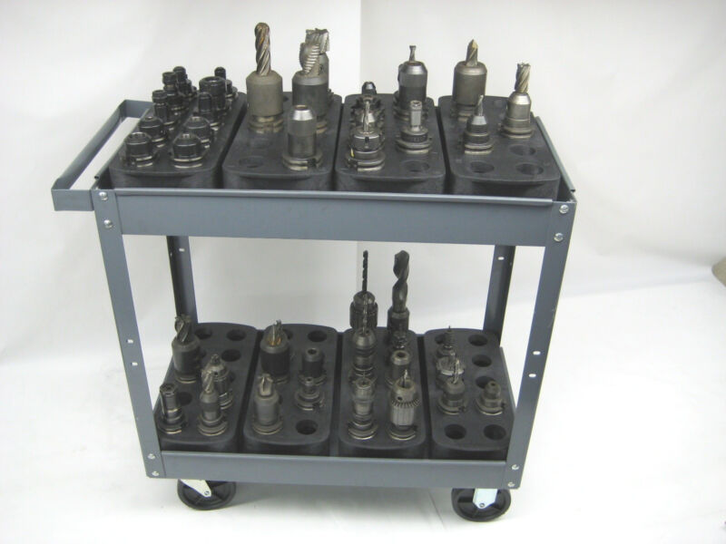 LOT OF 4 TRAYS FOR #40 CAT40 CT40 BT40 NMBT40 CNC TOOLHODERS STORAGE  RACKS