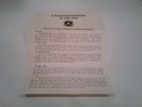 Vintage Mercedes Benz Club of America Invitation Letter Mercedes-Benz Document