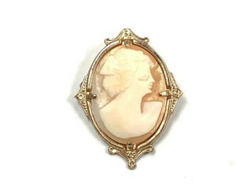 Picasso Inspired Carved Shell Cameo Right Facing Pin/Brooch w/YG Plate Bezel