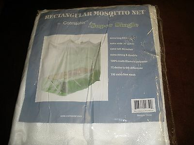 "NEW Cotmaster SINGLE WHITE Rectangular Mosquito Net (39""x 84""x 66"") MN750N"
