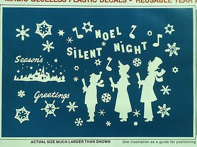 Christmas Decoration Clings Carolers Singers Music  Window Cling Reusable NEW
