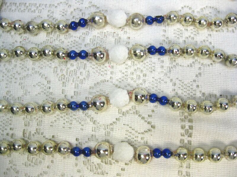 "VINTAGE MERCURY GLASS BEAD 1/4"" COBALT 1/2 & 3/8 SILVER MICA BEADS PATTEN 3G14"