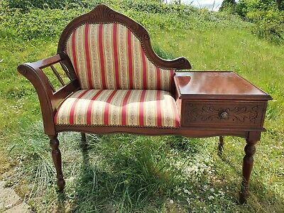 Antique Reproduction Mahogany Telephone Table With Seat & Drawer Upholstered