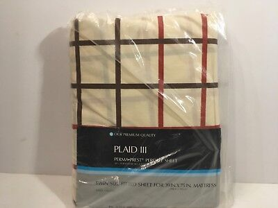 - Sears Plaid III Perma Prest Percale Twin Fitted Sheet Vtg NOS Brown Red
