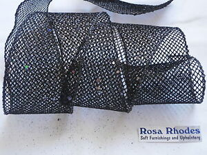 CHRISTMAS-WIRE-EDGED-RIBBON-BLACK-MESH-WITH-SPARKLEY-SEQUINS