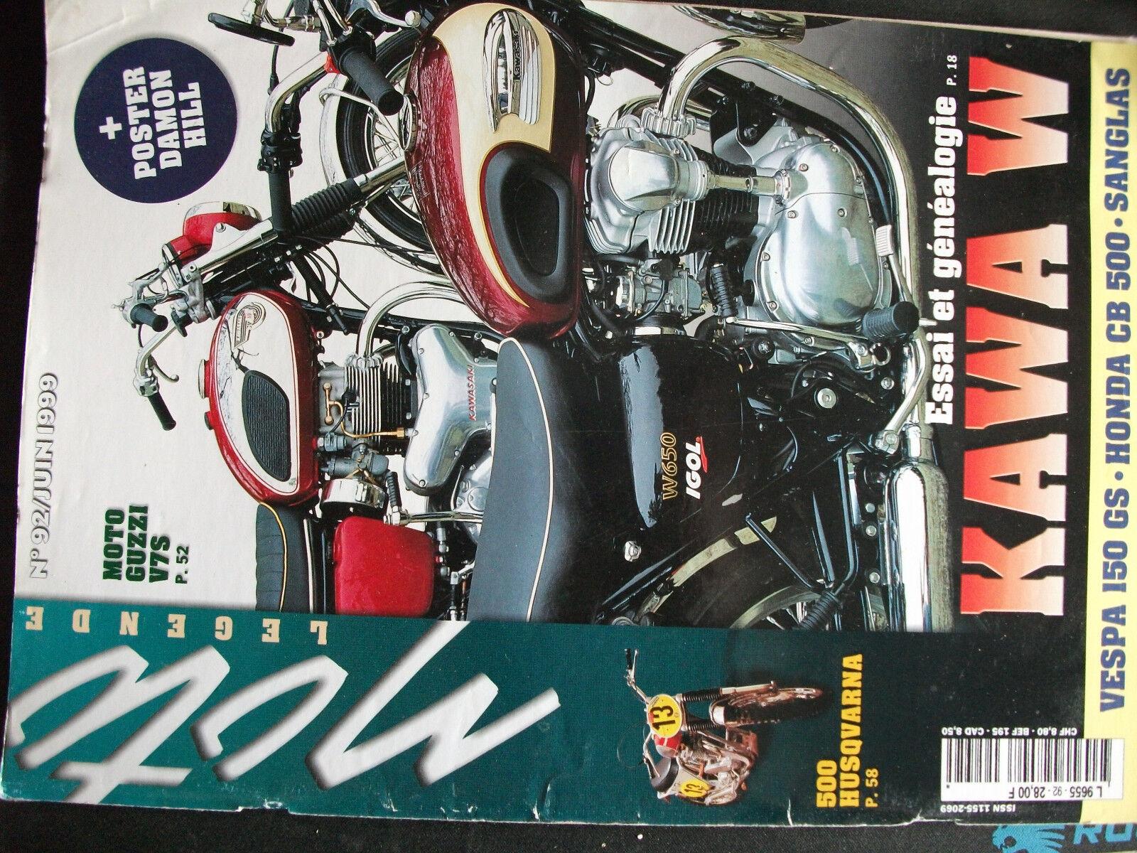 ** moto légende n°92 moto guzzi v7 special / kawasaki w650 / husqvarna 500 cross