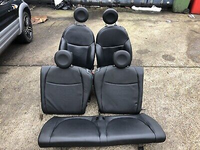 Fiat 500 2009 Black Leather Seats Front & Back No Door Cards Excellent Condition