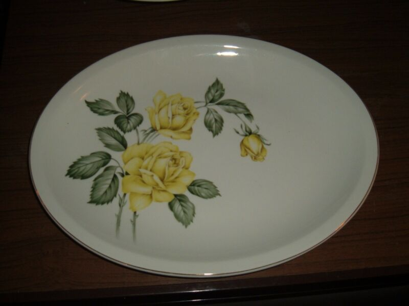 Large oval Paden City Pottery yellow rose platter