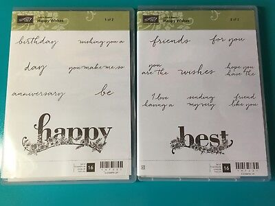 Nib Stampin Up Happy Wishes 2 Clear Mount Sets Sentiments Happy Birthday