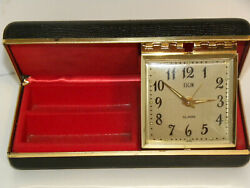 Vintage Elgin Travel Alarm Clock & Jewelry Case Working JAPAN MID-CENTURY