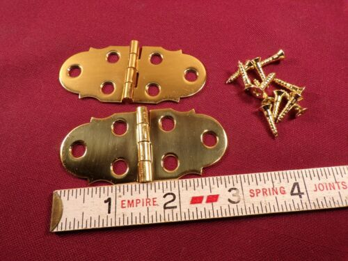 Pair Solid Brass Box Chest Door Surface Mount Hinges Small Hinge Vintage