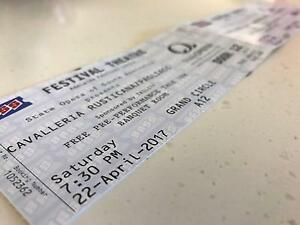 Two Opera Tickets for Sale Crafers Adelaide Hills Preview