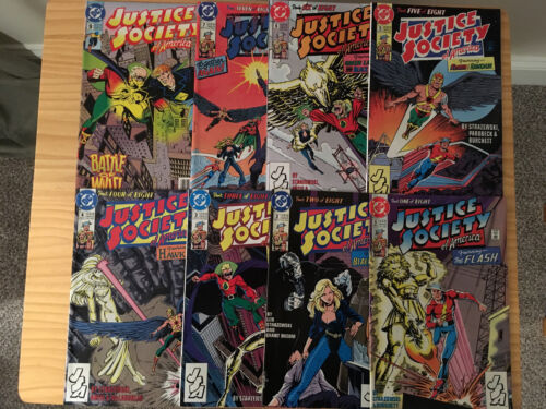 JUSTICE SOCIETY OF AMERICA COMIC LOT 8 ISSUES 1ST & 2ND SERIES FLASH HAWKMAN