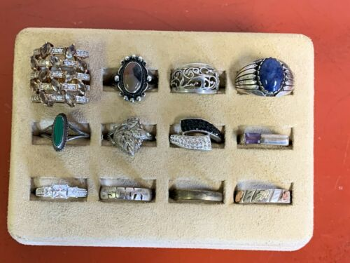 Lot of (12)  Sterling Silver Rings Sizes 7 - 9.75   Lot # 59
