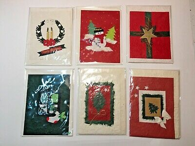 6 Earth-friendly mulberry handmade-paper Christmas winter holiday greeting cards ()