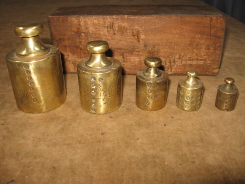 EARLY 1800s ANTIQUE BRASS WEIGHT SET CALIBRATED 5 PC ALL STAMPED HALL MARKED?