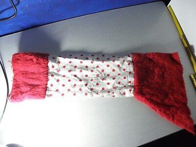 Stulpen Overknee für Strapshalter rot weiß punkte Fell Plüsch Weihnachten