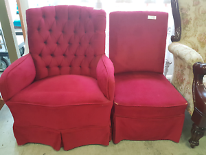 Reduced - Pair Ruby Red Bedroom Chairs Chermside Brisbane North East Preview