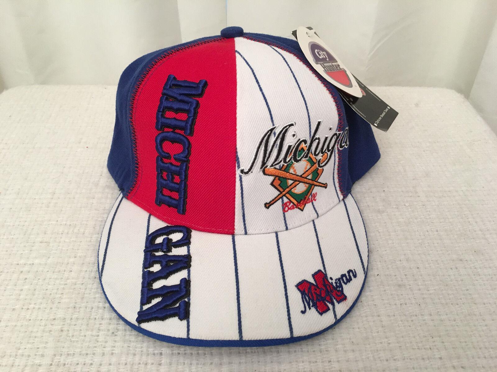 CITY HUNTER Michigan Baseball League Classic Fitted Hat/Cat,